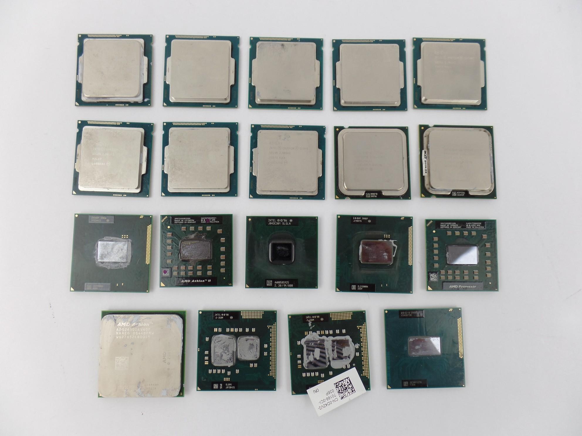Lot of 19 CPUs Processor Intel Pentium Celeron i3 AMD