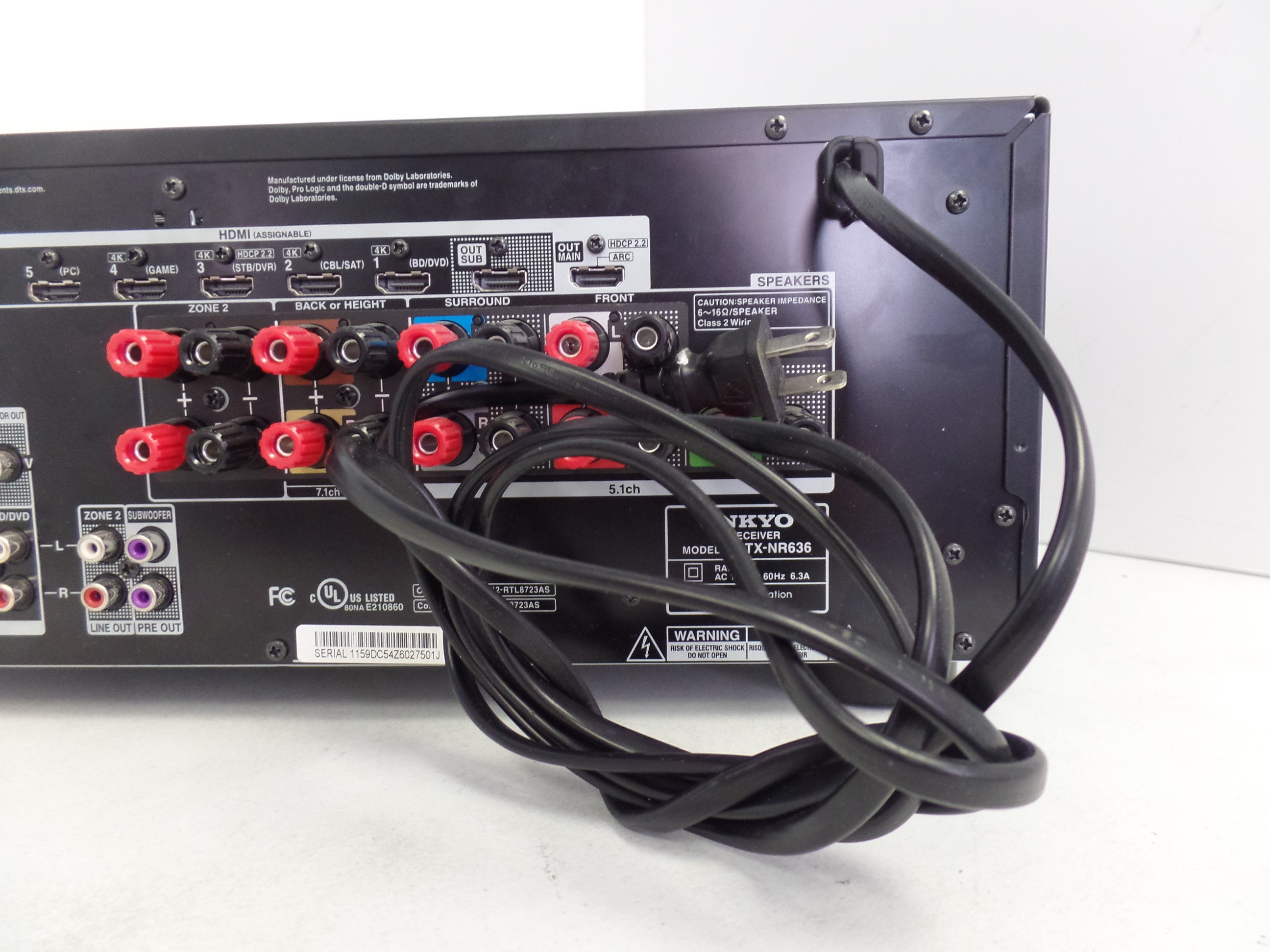 Home Theater 7 2 AV Receiver Onkyo TX-NR636 for parts #11