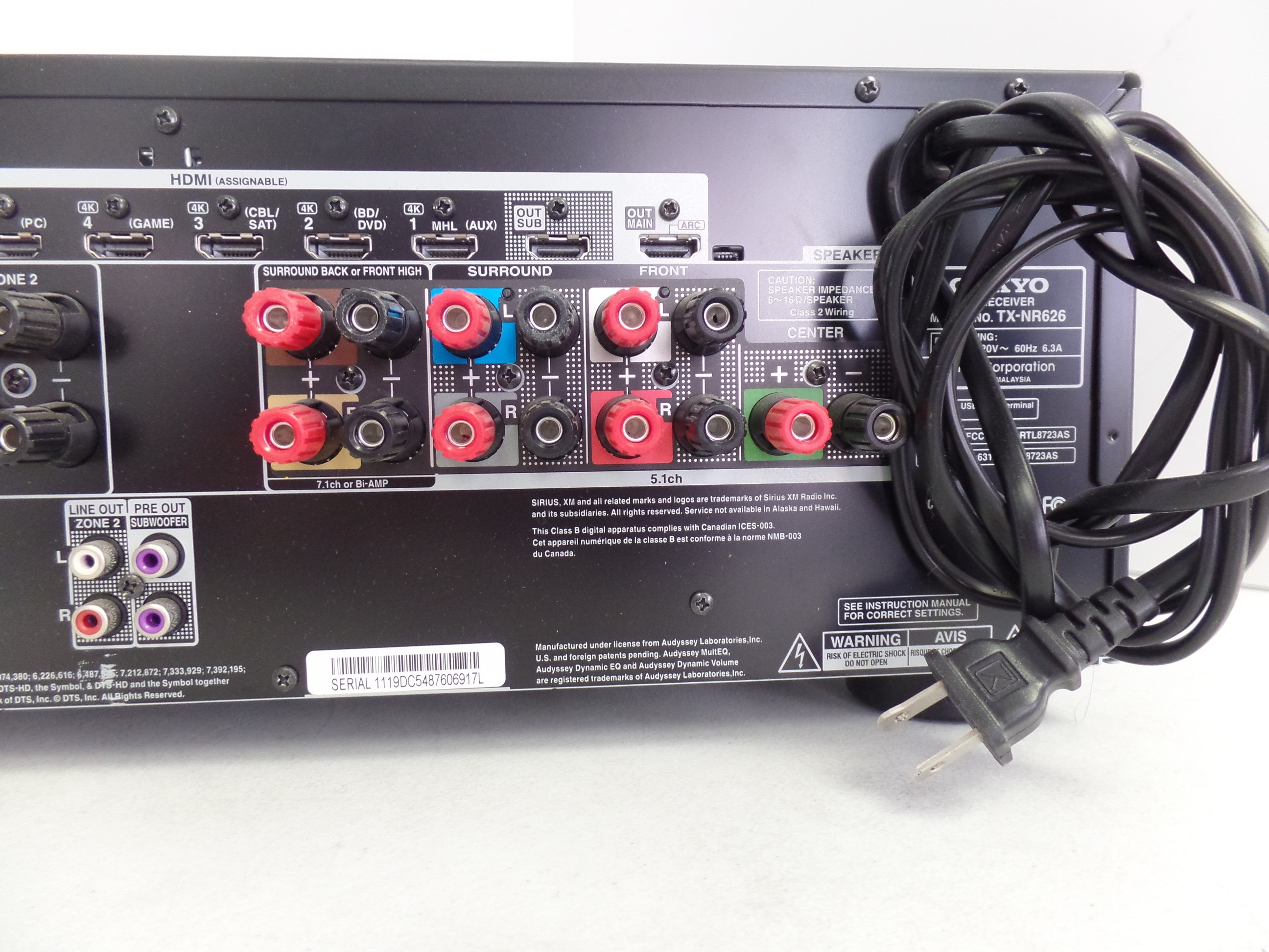 Home Theater 7 2 AV Receiver Onkyo TX-NR626 for parts #14